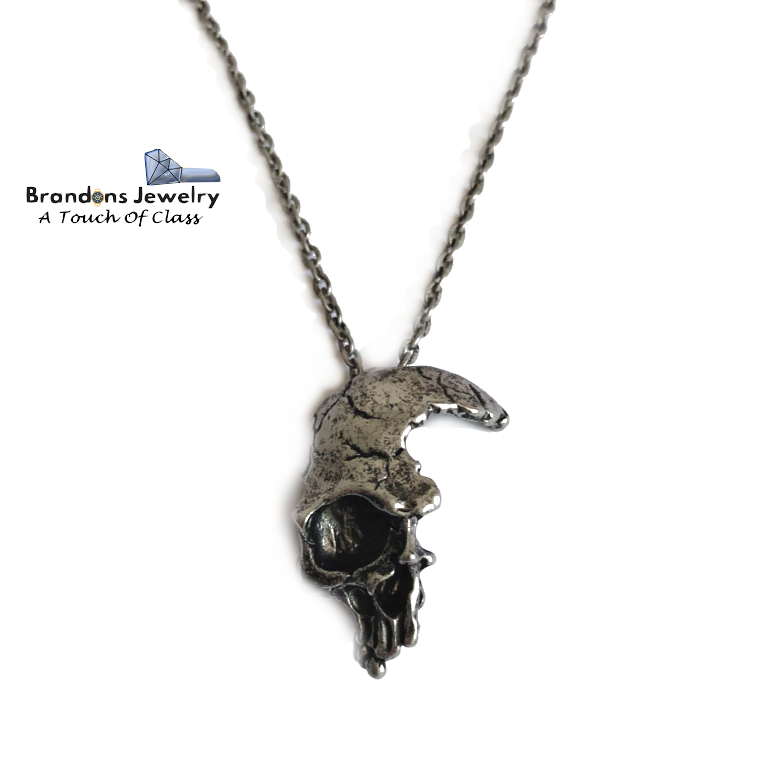 Broken skull necklace