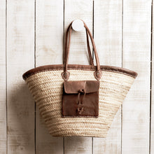 Load image into Gallery viewer, French Market Bag | Leather Pocket + Trim
