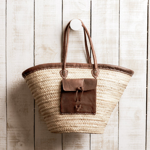 French Market Bag | Leather Pocket + Trim