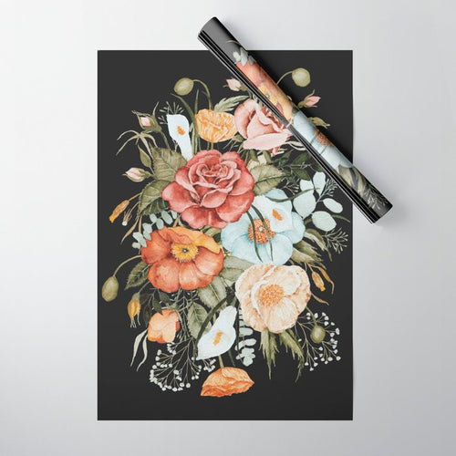 Wrapping Paper Sheet | Roses + Poppies