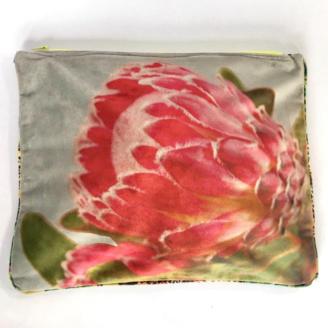 protea photographed and printed onto velvet mini tote bag with colourful zip and piping, fully lined,  Perfect as a clutchbag  or for keeping your ipad safely.  Approximate size 27cm wide by 22 cm deep. Handmade.