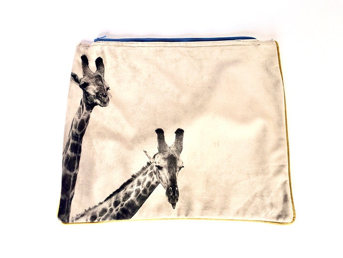 Giraffes photographed and printed onto velvet mini tote bag with colourful zip and piping, fully lined,  Perfect as a clutchbag  or for keeping your ipad safely.  Approximate size 27cm wide by 22 cm deep. Handmade.