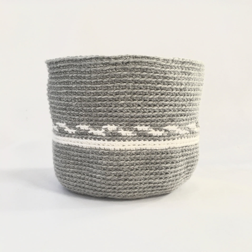 Cylindrical Basket - Grey and White