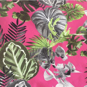 bright tropical print on linen cotton mix fabric