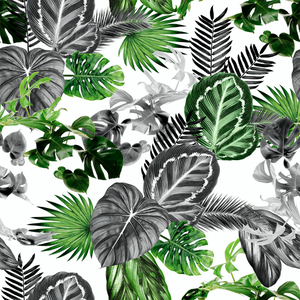 Tropical print wallpaper on vinyl paper sold by the meter.