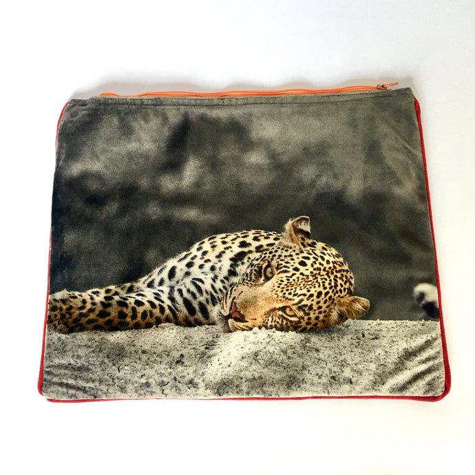 Leopard photographed and printed onto velvet mini tote bag with colourful zip and piping, fully lined, Perfect as a clutchbag or for keeping your ipad safely. Approximate size 27cm wide by 22 cm deep. Handmade