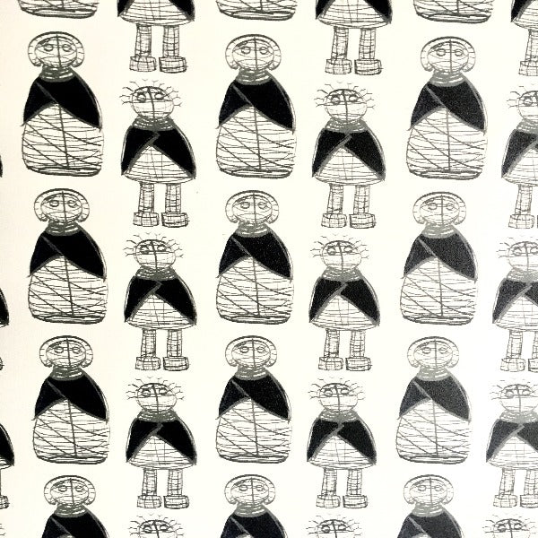 black and white Ndebele Doll wallpaper printed on vinyl sold by the meter.