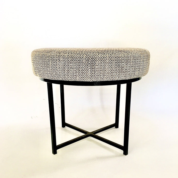 upholstered ottoman or side table on metal legs