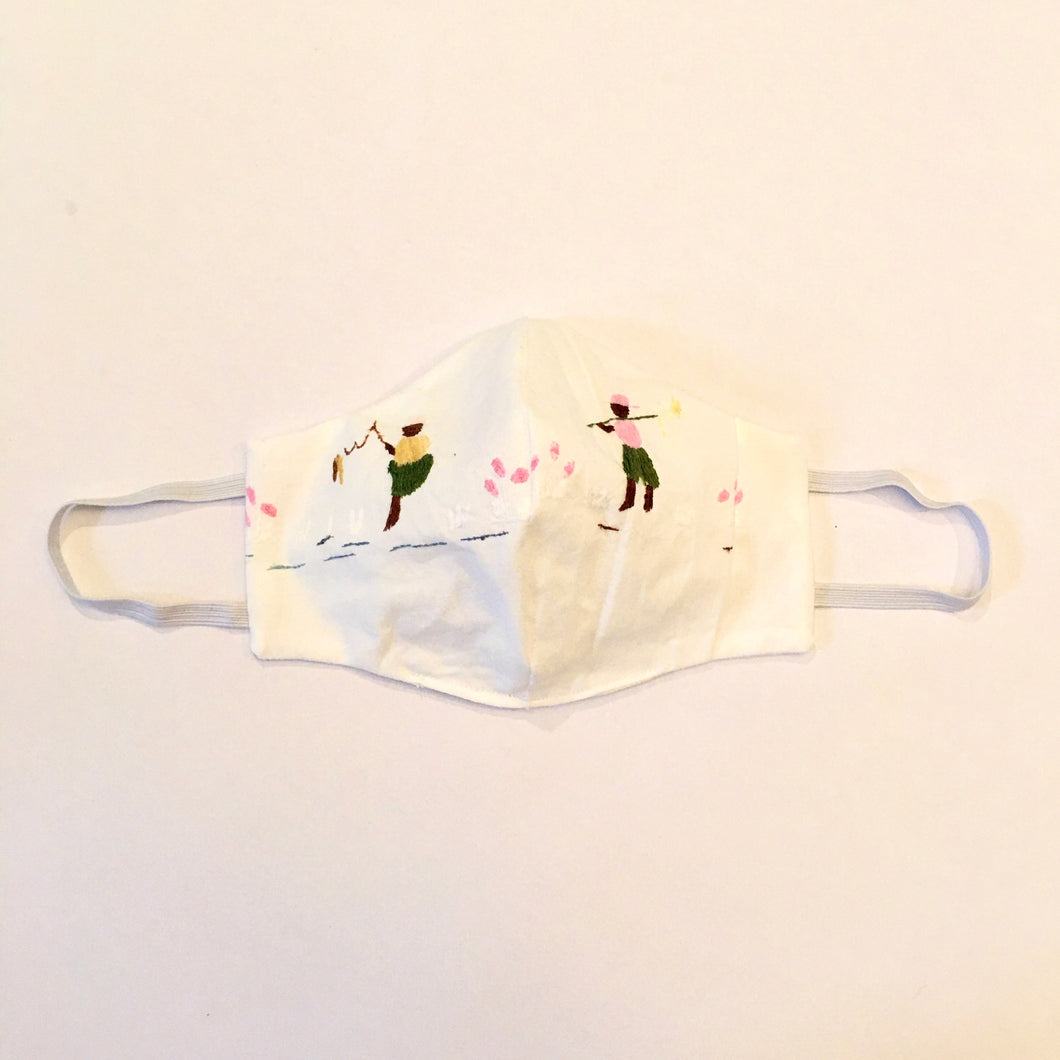 Face Masks - Hand Embroidered on White Percale