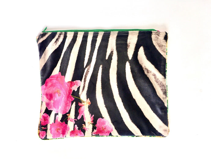 Zebra and roses photographed and printed onto velvet mini tote bag with colourful zip and piping, fully lined, Perfect as a clutchbag or for keeping your ipad safely. Approximate size 27cm wide by 22 cm deep. Handmade