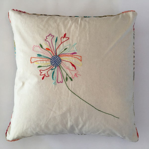 hand embroidered agapanthus on natural cotton cushion cover with floral piping