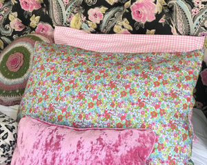 Pillowcase - Liberty Of London Teal, Yellow and Pink Floral