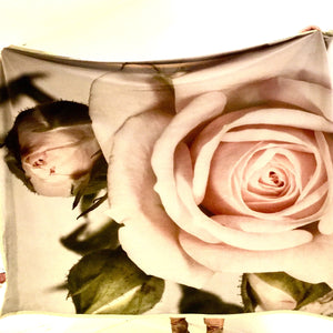 Digital roses printed on square velvet panel suitable for interiors.