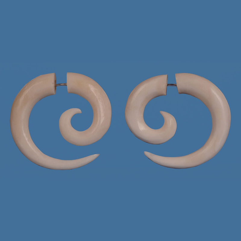 BE016 Bone Koru Earlobe Expander Look Earrings