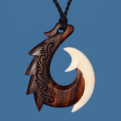 Wood and Bone Carved Hook Pendant with Etching on Black Adjustable Cord