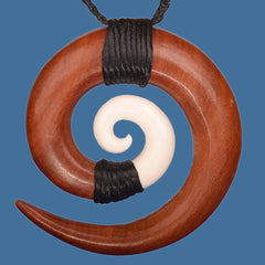 Bone and Wood Koru Carved Pendant