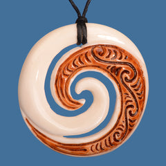 BP012 Bone Koru Stained Pendant with Etching