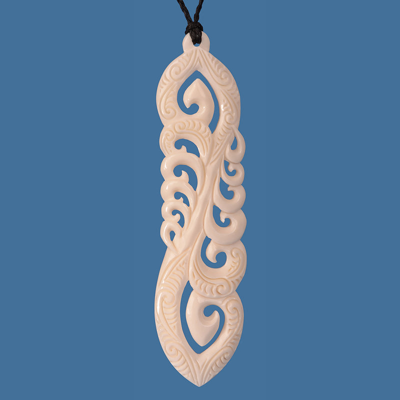 Beautiful Extra Large Bone Carving depicting Family Pendant on an adjustable braided cord.