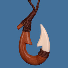 Wood and bone fish hook pendant