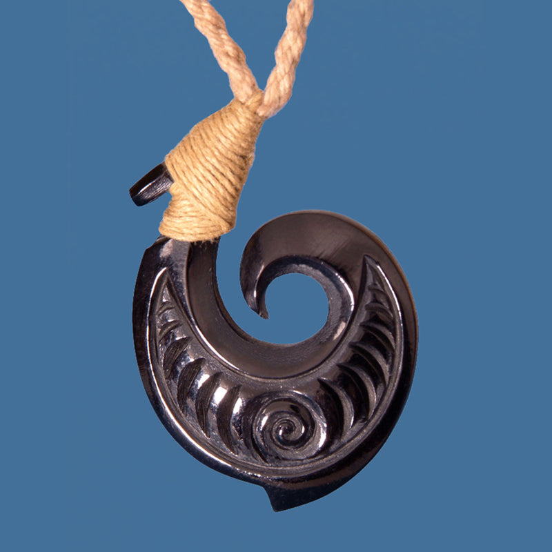 FBC073B Bone Bound Etched Hook Pendant with Black Staining