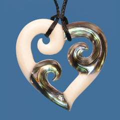 FBC081 Bone Triple Koru Heart Pendant with Paua Inserts
