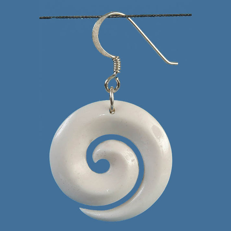 FBE019 Bone Open Koru Earrings