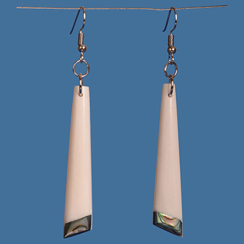 FBE030 Bone Drop Earrings with Paua Detailing