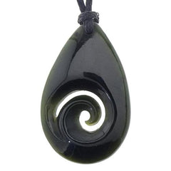 Jade Tear drop with koru