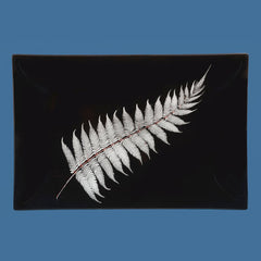 Glass Silver Fern Plate