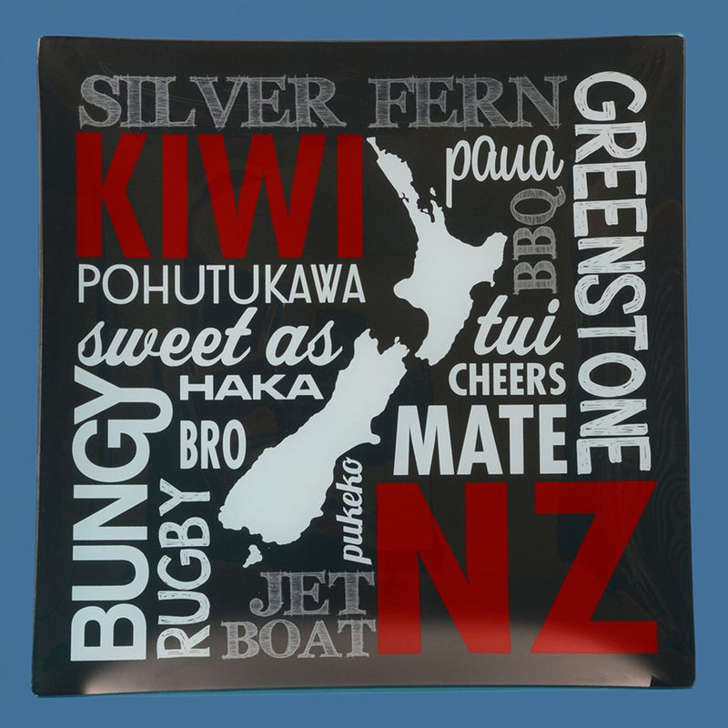 Glass Kiwiana Words  Plate