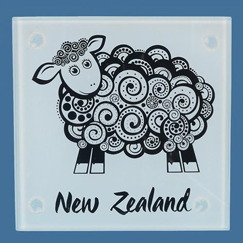 Glass Sheep Coaster Set