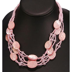 Pink Shell Oval Necklace