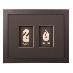 2 Bone Carvings Framed