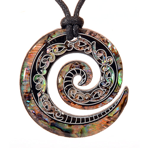 Paua Fancy Koru Pendant