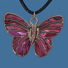 Pink Paua Butterfly Pendant