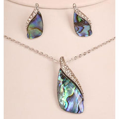 Paua Pendant Earring Set