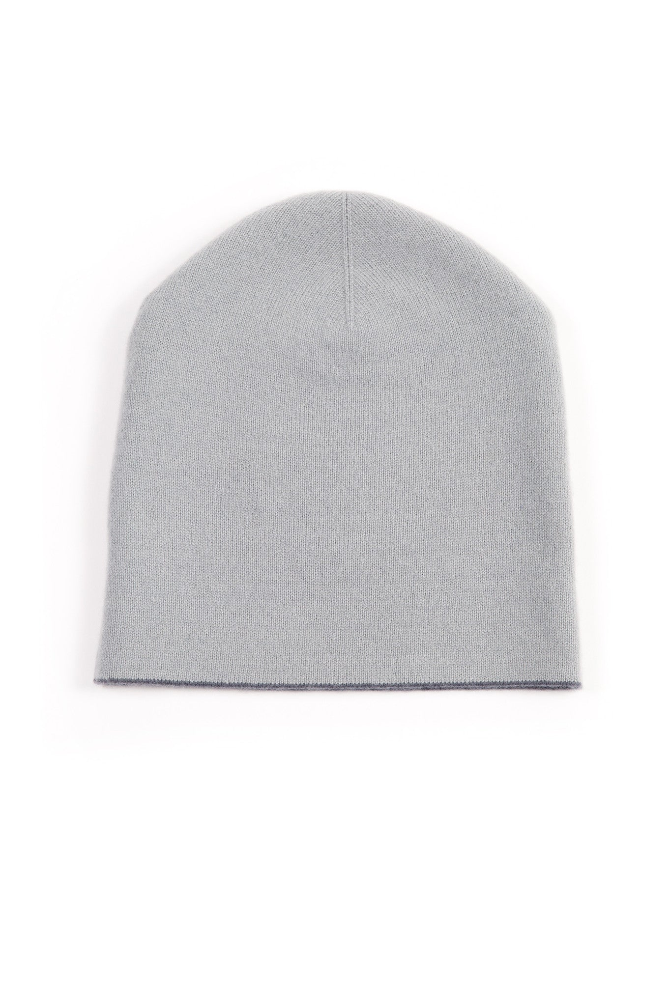 26c6b28f9469f Light Grey and Charcoal Grey 50% Cashmere 50% Wool Reversible Hat - Corala  Cashmere ...