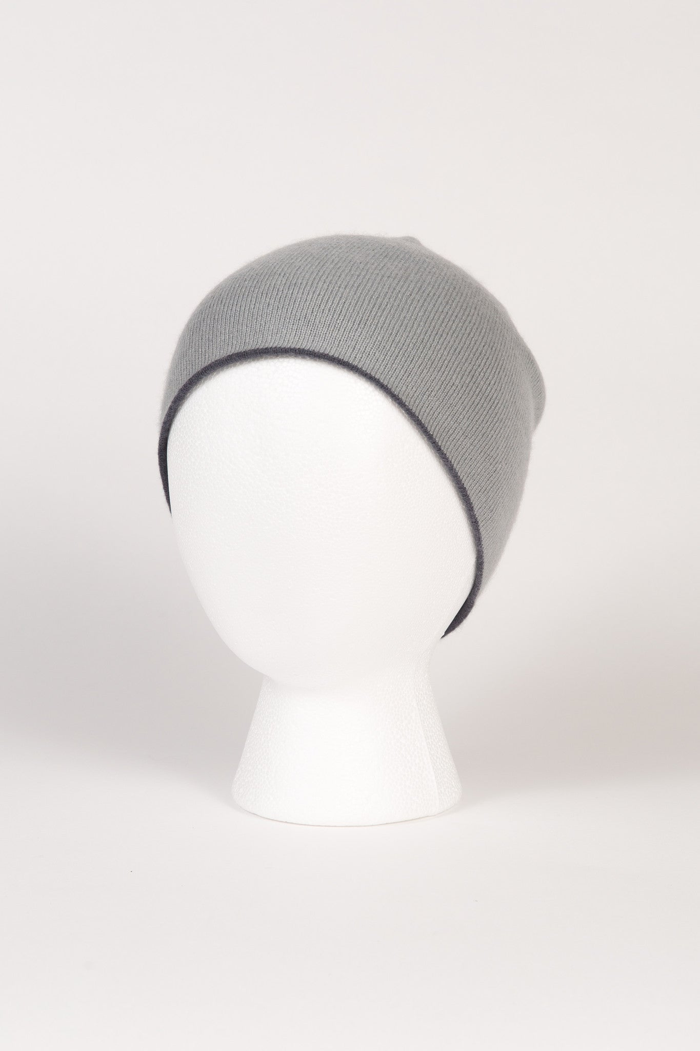 07a27a895 Light Grey and Charcoal Grey 50% Cashmere 50% Wool Reversible Hat