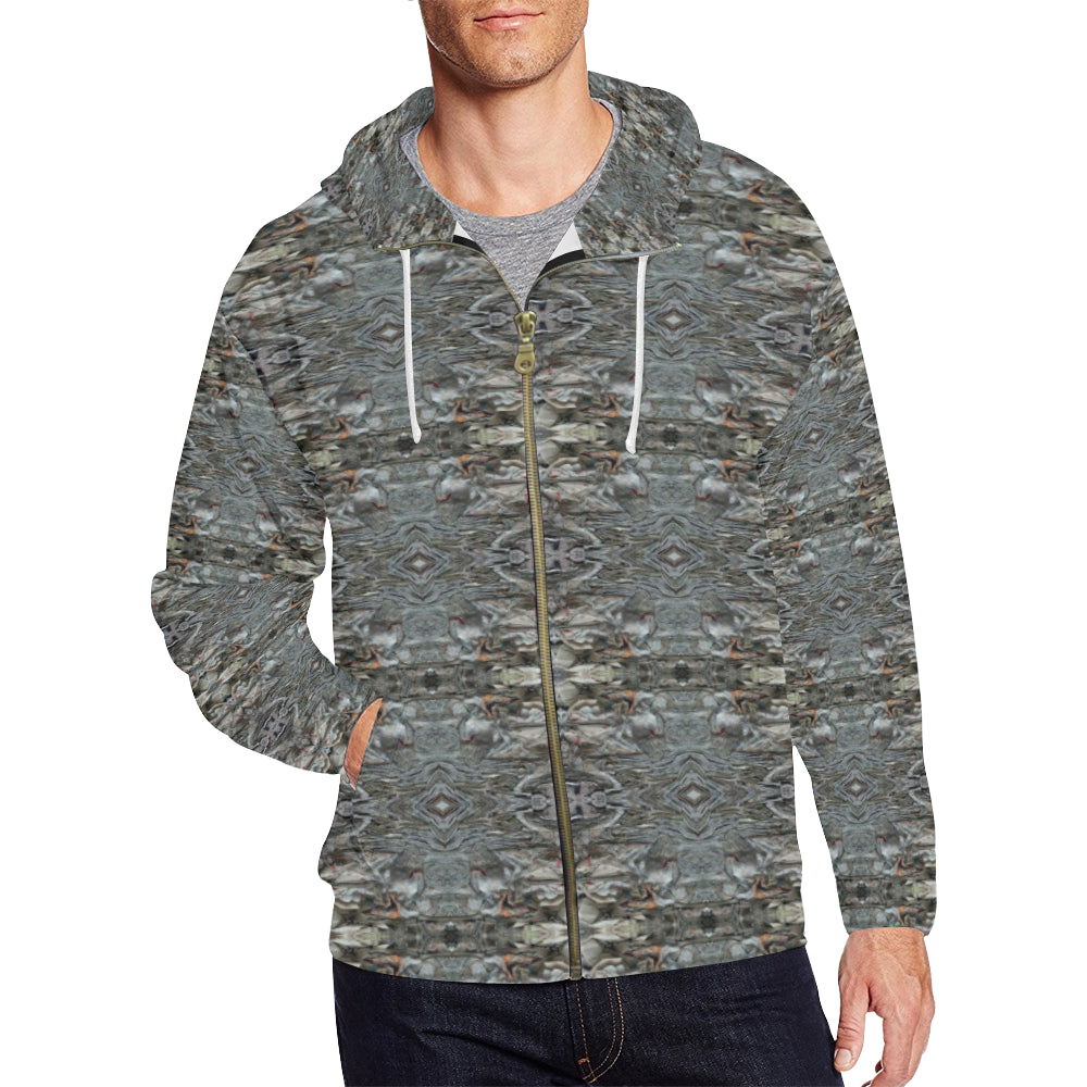 Men's Hoodie 3 By ChuArts Epic-125 Full Zip Hoodie (Model H14 )(Large Size)