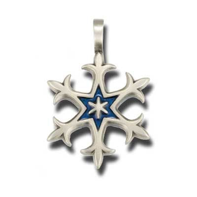 Bico Australia Jewelry - (B206) Snowflake Pendant - Purity - Comes With A Generic Black Rubber Necklace