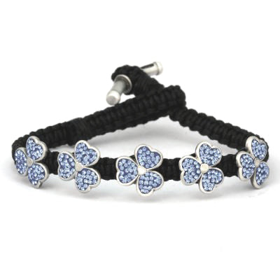 Bico Australia Jewelry -  (CA39BLKLB) - Amaria - Sparkling Light Of Life - Light Blue Swarovski Crystals In Pewter Flowers