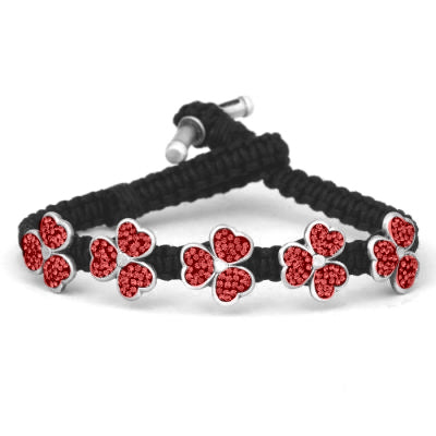 Bico Australia Jewelry -  (CA39BLKR) - Amaria - Sparkling Light Of Life - Red Swarovski Crystals In Pewter Flowers