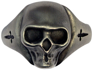 Bico Raw Pewter SWORD & SKULL Spirit Ring (ARR2)