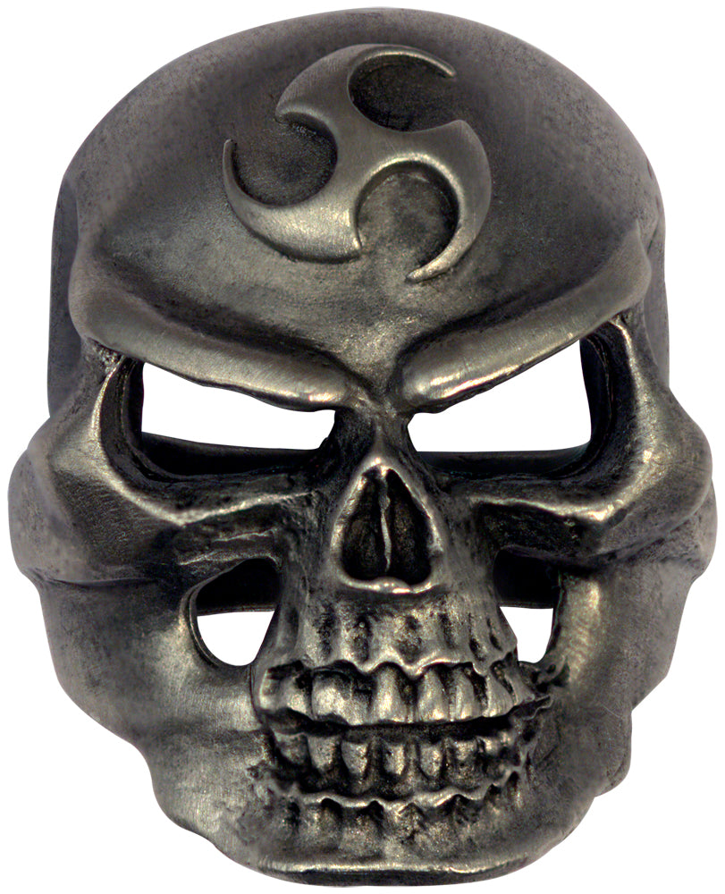 Bico Raw Pewter TRIAD SKULL Spirit Ring (ARR5)