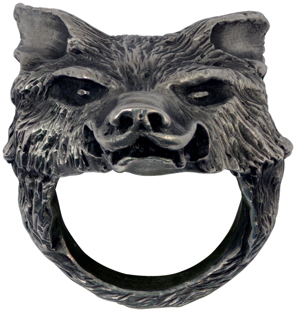 Bico Raw Pewter WOLFS HEAD Spirit Ring (ARR8)