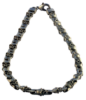 Bico Raw FIRE & LIGHTNING Pewter Skull Chain (F307)
