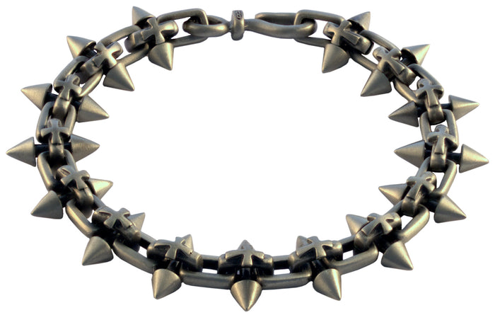 Bico Raw SPIKED CROSS Pewter Bracelet (FB310)