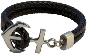 Bico Raw ANCHOR Double Leather Bolo Bracelet (FB401BLK)