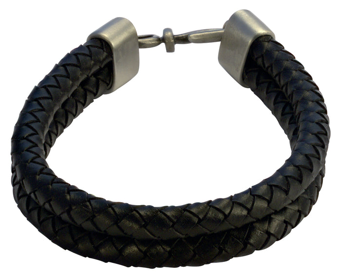 Bico Raw DOUBLE BOLO Black Leather Bracelet (FB403BLK)