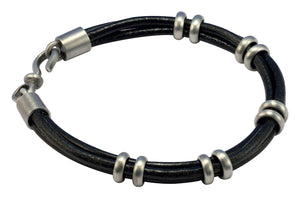 Bico Raw SMOKE DANCE Leather Bracelet with Adjustable Rings (FB411BLK)